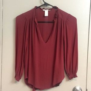 H&M burgundy Victorian blouse S 2